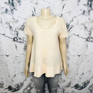 Free People We The Free Oversized Flowy Scoop Neck T-Shirt Lace Yellow